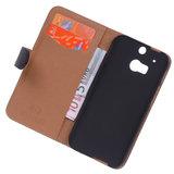 Polar Echt Lederen Zwart Hoesje voor HTC One M8 Bookstyle Wallet_