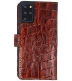 Bestcases Krokodil Handmade Leer Bookstyle Hoesje voor Samsung Galaxy S20 Plus Bruin_