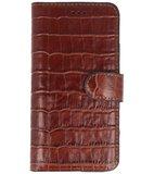 Bestcases Krokodil Handmade Leer Bookstyle Hoesje voor iPhone 11 Bruin_