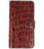 Bestcases Krokodil Handmade Leer Bookstyle Hoesje voor iPhone XR Bruin_