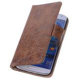 Bestcases Vintage Bruin Book Cover Hoesje voor Samsung Galaxy S4 i9500_