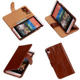 PU Leder Bruin HTC Desire 820 Book/Wallet Case/Cover