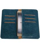 Blauw Pull-up Large Pu portemonnee wallet voor Huawei