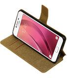 Goud Samsung Galaxy C7 TPU wallet case booktype hoesje HM Book