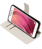 Wit Samsung Galaxy C7 TPU wallet case booktype hoesje HM Book