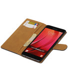 Grijs Hout booktype wallet cover hoesje voor Samsung Galaxy C7