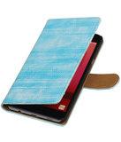 Turquoise Mini Slang booktype wallet cover hoesje voor Samsung Galaxy C7