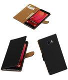 Zwart Effen booktype wallet cover hoesje voor Samsung Galaxy C7