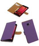 Paars Effen booktype wallet cover hoesje voor Samsung Galaxy C7
