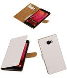 Wit Effen booktype wallet cover hoesje voor Samsung Galaxy C7
