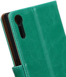 Groen Pull-Up PU booktype wallet cover hoesje voor Sony Xperia XZ