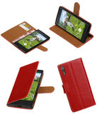 Rood Pull-Up PU booktype wallet cover hoesje voor Sony Xperia XZ