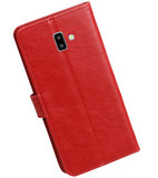 Hoesje voor Samsung Galaxy J6 Plus Pull-Up Booktype Rood_