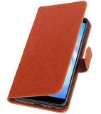 Hoesje voor Samsung Galaxy J6 Plus Pull-Up Booktype Bruin_