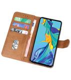 Bookstyle Wallet Cases Hoesje voor Huawei P30 Bruin_