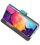 Booktype Wallet Cases Hoesje voor Samsung Galaxy A50 Blauw_