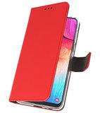 Booktype Wallet Cases Hoesje voor Samsung Galaxy A50 Rood_