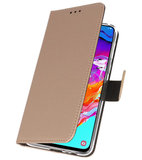 Booktype Wallet Cases Hoesje voor Samsung Galaxy A70 Goud_