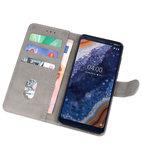 Bookstyle Wallet Cases Hoesje voor Nokia 9 PureView Grijs_