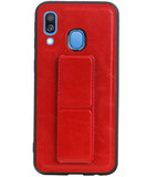 Grip Stand Hardcase Backcover voor Samsung Galaxy A40 Rood_
