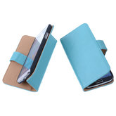 PU Leder Turquoise Hoesje voor Samsung Galaxy S4 Mini Book/Wallet Case/Cover