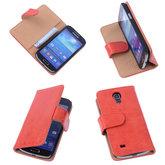 Bestcases Vintage Oranje Book Cover Hoesje voor Samsung Galaxy S4 Mini i9190