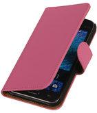 Hoesje voor Samsung Galaxy J1 2015 Effen Booktype Wallet Roze