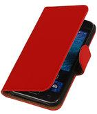 Hoesje voor Samsung Galaxy J1 2015 Effen Booktype Wallet Rood