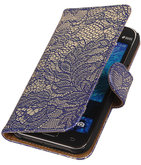 Blauw Lace / Kant Design Bookcover Hoesje voor Samsung Galaxy J1 2015