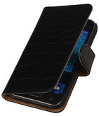 Hoesje voor Samsung Galaxy J1 2015 Crocodile Booktype Wallet Zwart