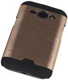 Lichte Aluminium Hardcase Hoesje voor Samsung Galaxy J1 2015 Goud