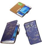 Hoesje voor Samsung Galaxy J5 2015 Lace Kant Booktype Wallet Blauw