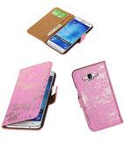 Hoesje voor Samsung Galaxy J5 2015 Lace Kant Booktype Wallet Roze