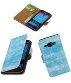 Hoesje voor Samsung Galaxy J1 2015 Booktype Wallet Mini Slang Blauw