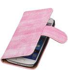 Hoesje voor Samsung Galaxy S4 mini Bookstyle - Mini Slang Roze