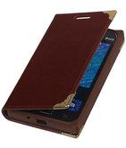 Hoesje voor Samsung Galaxy J1 2015 - Bruin TPU Map Bookstyle
