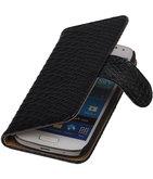 Bestcases Slang Zwart Hoesje voor Samsung Galaxy S4 Mini Bookcase Cover