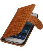 Bestcases Slang Bruin Hoesje voor Samsung Galaxy S4 Mini Bookcase Cover