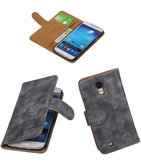 Hoesje voor Samsung Galaxy S4 Mini i9190 - Booktype Wallet Mini Slang Grijs