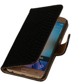 Hoesje voor Samsung Galaxy S4 Mini - Slang Zwart Bookstyle Wallet