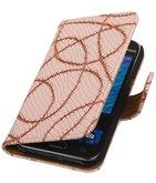 Licht Roze Basketbal Hoesje voor Samsung Galaxy J1 2015 Booktype Wallet Cover