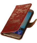 Rood Lace / Kant Design Bookcover Hoesje voor Samsung Galaxy J1 2015