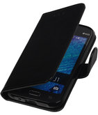 Zwart Smartphone TPU Booktype Hoesje voor Samsung Galaxy J1 2015 Wallet Cover