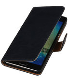 Donker Blauw Echt Leer Booktype Hoesje voor Samsung Galaxy J1 2015 Wallet Cover