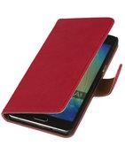 Roze Echt Leer Booktype Hoesje voor Samsung Galaxy J1 2015 Wallet Cover