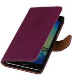 Paars Echt Leer Booktype Hoesje voor Samsung Galaxy J1 2015 Wallet Cover