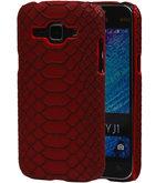 Rood Slang Hardcase Backcover Hoesje voor Samsung Galaxy J1 2015