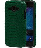 Groen Slang Hardcase Backcover Hoesje voor Samsung Galaxy J1 2015