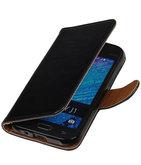Zwart Pull-Up PU Hoesje voor Samsung Galaxy J1 2015 Booktype Wallet Cover