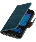 Blauw Pull-Up PU Hoesje voor Samsung Galaxy J1 2015 Booktype Wallet Cover